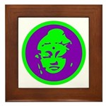 Green & Purple Buddah Framed Tile