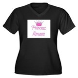Princess Amara Women's Plus Size V-Neck Dark T-Shi