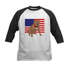 Red Nose Pit Bull USA Flag Tee