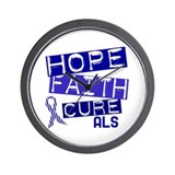 Hope Faith Cure ALS Wall Clock