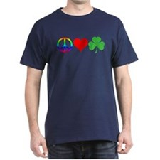 Peace Love Shamrock Irish T-Shirt