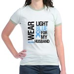 IWearLightBlue Husband Jr. Ringer T-Shirt