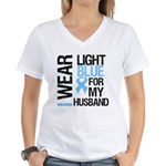 IWearLightBlue Husband Women's V-Neck T-Shirt