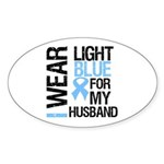 IWearLightBlue Husband Oval Sticker (10 pk)