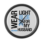 IWearLightBlue Husband Large Wall Clock