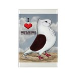 Red Turbit Pigeon Rectangle Magnet (100 pack)