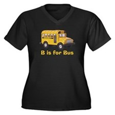 B is for Bus Women's Plus Size V-Neck Dark T-Shirt