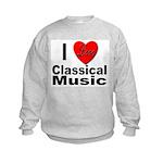I Love Classical Music (Front) Kids Sweatshirt