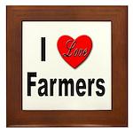 I Love Farmers Framed Tile