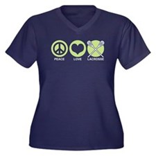 Peace Love Lacrosse Women's Plus Size V-Neck Dark