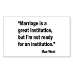 Mae West Marriage Quote Rectangle Sticker