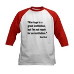 Mae West Marriage Quote (Front) Kids Baseball Jers