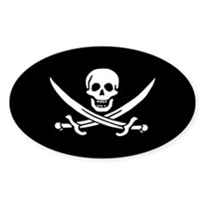 Calico Jack Jolly Roger Oval Decal