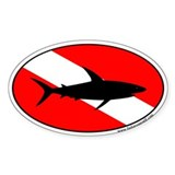 Shark Dive Oval Bumper Stickers