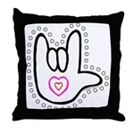 B/W Bold Love Hand Throw Pillow