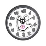 B/W Bold Love Hand Wall Clock