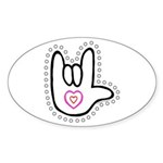 B/W Bold Love Hand Oval Sticker (50 pk)