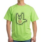 B/W Bold Love Hand Green T-Shirt