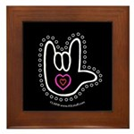 B/W Bold Love Hand Black Framed Tile