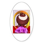 Flower Pouter Pigeon Oval Sticker
