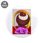 "Flower Pouter Pigeon 3.5"" Button (10 pack)"