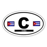 Cuba Cuban International Style Oval Decal