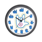 Blue Bold Love Hand Wall Clock