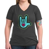 Aqua Bold Love Hand Shirt
