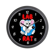 Science Geek Lab Rat Black Wall Clock