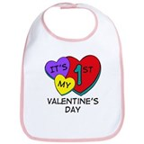 1st Valentine's Day Hearts Bib
