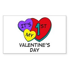 1st Valentine's Day Hearts Rectangle Decal