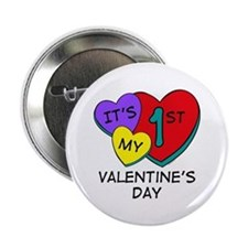 "1st Valentine's Day Hearts 2.25"" Button"