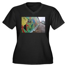 Berlin Wall Women's Plus Size V-Neck Dark T-Shirt