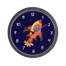 Rocket Ship In Outer Space Wall Clock