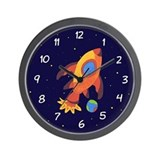 Blast Off Rocket Ship In Space Wall Clock