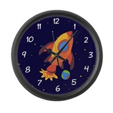 Blast Off Rocket Ship In Space Large Wall Clock
