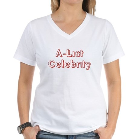 A-List Celebrity Womens V-Neck T-Shirt