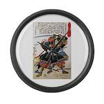 Japanese Samurai Warrior Morimasa Large Wall Clock