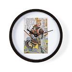 Japanese Samurai Warrior Yoshiaki Wall Clock