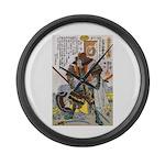 Japanese Samurai Warrior Yoshiaki Large Wall Clock