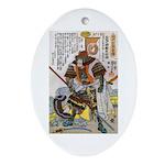 Japanese Samurai Warrior Yoshiaki Oval Ornament