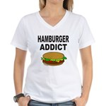 HAMBURGER ADDICT Women's V-Neck T-Shirt