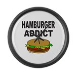 HAMBURGER ADDICT Large Wall Clock