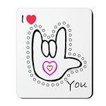 B/W Bold I-Love-You Mousepad