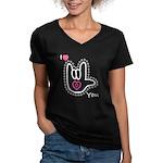 B/W Bold I-Love-You Women's V-Neck Dark T-Shirt