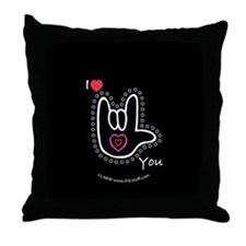 B/W Bold I-Love-You Black Throw Pillow
