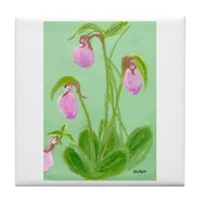 lady slipper painting Tile Coaster