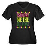 Show Me the Beads! Women's Plus Size V-Neck Dark T
