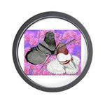 Trumpeter Pigeons and Flowers Wall Clock