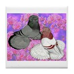 Trumpeter Pigeons and Flowers Tile Coaster